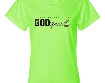 GODspeed Christian Athletic Workout T-Shirt, To God Be The Glory, Athletic Apparel, Workout Clothes, Christian, T-Shirt, Women's Shirt, Run
