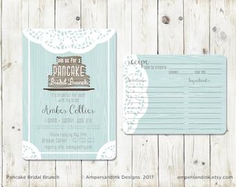 Pancake Bridal Brunch Invitation, Lace Doily Woodgrain, Bridal Shower invite with recipe card