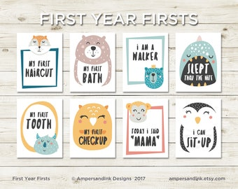 First Year Firsts, Milestones, Photo Prop, Funky Animal Milestone Flash Cards, 4.25 x 5.5 cards