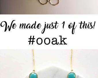 Turquoise Necklace, Blue Stone Gold Circle Necklace, Minimalist, Modern, Boho Chic, Work Jewelry, Geometric Shape, Aqua Teal Bib Necklace