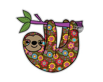 Sloth Sticker - Colorful Car Decal Laptop Decal Bumper Sticker Flowers Animal Jungle Cute Sloth Wall Art Kid Bedroom Animal Wall Decal Zoo