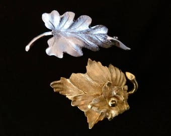 Pastelli or Money vintage leaf brooch, your choice, silver Monet or gold Pastelli