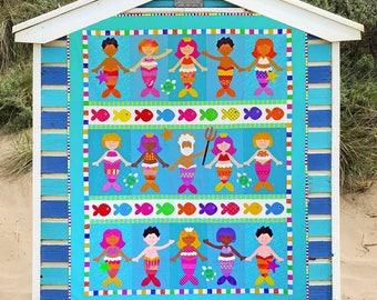 A MERMAID'S TALE | Quilt Patterns | PDF Patterns | Mermaid Quilt | Mermaids | Applique Quilts | Happy Quilts | Kids Quilts