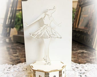 Reneabouquets Beautiful Board 3D Ballerina On Stage Do It Yourself Kit Laser Cut Chipboard Double Side Vintage White Coated