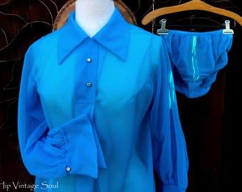 Vintage 1960's Nighty Set, 60's Pajama Top and Panty Set, Sheer Blue Pajama Set, Retro, Mod