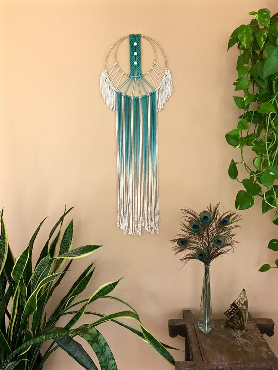 Beaded Macrame Dream Catcher - Hand Dyed Ombre Teal Rope