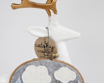 Nursery Wall Art / Rain Cloud with Blue Ombre Rain Drops / Embroidery Hoop Art / Gift for Baby / Gifts Under 50 / Felt Hoop Art / Cloud Art