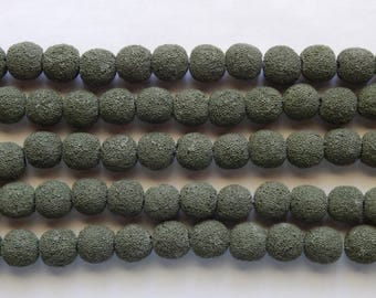 14mm Army Green Lava Rock Stone Beads, 10 PC (INDOC558)