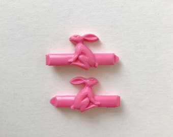 CUTE Pink Bunny Rabbit Vintage Hair Clips By Goody