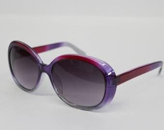 Vintage Oversized Sunglasses Two Tone Ombre Purple Pink Oval -Huge Sun glasses - sunnies  large Retro Glasses celebrity-unworn