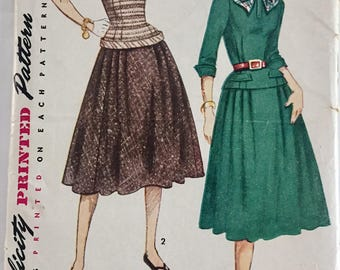 "Vintage 1950s Simplicity Misses' Two Piece Dress Pattern 3997 Size 14 (32"" Bust)"