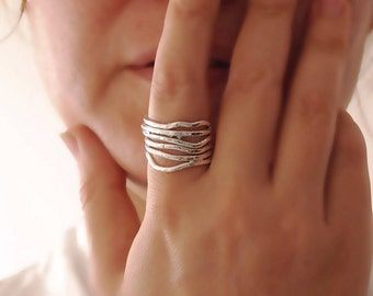 Thick Band Ring, Wrap Ring, Branches Ring, Large Band, Twig, Shiny, Hand Forged Sterling Silver, Hammer Texture, Organic Silver