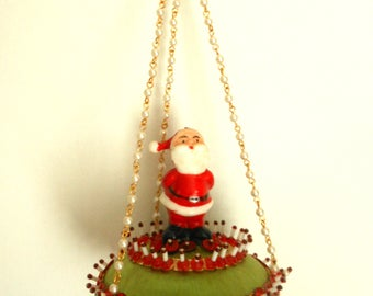 Vintage 70s Beaded Satin Christmas Ornament with Santa Claus