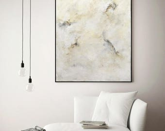 40 x 30 Large modern abstract painting contemporary canvas abstract acrylic fine art white office painting wall art by L. Beiboer