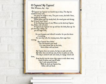 O Captain! My Captain! - Walt Whitman Poetry print - Literary Quote Print Gift - Inspirational Quote - My Captain Poem - Poetry Art Print