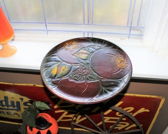 Vintage Asian Lacquer Tray Large Round Platter 14""
