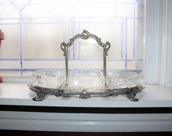 Antique Victorian Relish Tray Centerpiece Candy Dish and Glass Inserts
