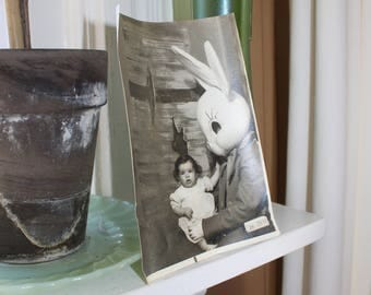 Vintage Photograph Young Girl and Easter Bunny Portrait 1950s 5 x 7