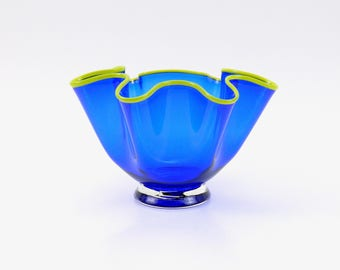 Hand Blown Glass Bowl in Cobalt Blue