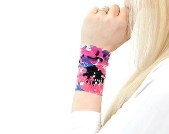 Fabric Cuff Bracelet, Pink Bracelet, Printed Bracelet, Wrist Cuff Arm Band Wrist Cover Nursing Bracelet, Wristband Wrist Tattoo Cover Up