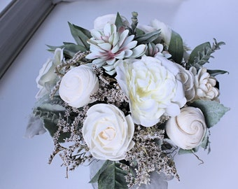 Silk Sola Flower Succulent Floral Arrangement, Galvanized Metal Vase, Seeded Eucalyptus, Dusty Miller, Wedding Centerpiece, Home Decor
