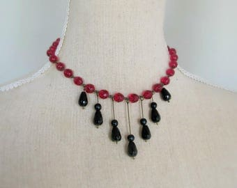 Garnet and black onyx beads necklace