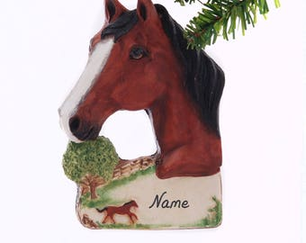 Bay Horse Ornament personalized horse Christmas ornament for the horse lover in your life. Made in America, personalized free  (106)