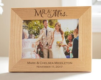 Personalized Mr & Mrs Picture Frame: Mrs Mrs Wedding Gift, Personalized Wedding Picture Frame, Bride Groom Picture Frame, SHIPS FAST