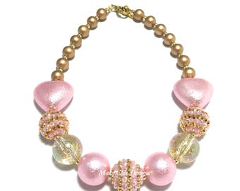 Toddler or Girls Gold and Pink Heart Chunky Necklace - Princess Pink Chunky Necklace - Light Pink Heart Necklace - Valentines Day Necklace
