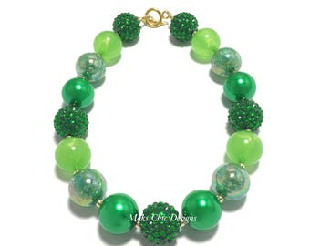 Toddler or Girls Green and Gold Chunky Necklace - St Patrick's Day Chunky Necklace - Pretty in Green Necklace - Shades of Green Necklace
