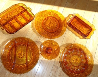 6 Piece Vintage Amber Glass Collection, 6 Great Serving pieces of Indiana Glassware, Stamped, Pressed, Molded Glass in Very Good Condition