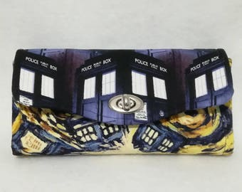 Necessary Clutch Wallet (NCW) made with Doctor Who Fabrics