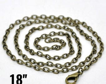 """100 Bronze Necklaces - WHOLESALE - Cable Chains - Antique - 3x4mm -  18""""  - Ships IMMEDIATELY from California - CH584d"""