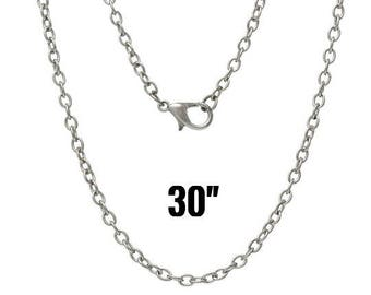 "100 Silver Necklaces - WHOLESALE - Antique Cable Chains  - 3.5x2.5mm - 30"" -  Ships IMMEDIATELY from California - CH722d"