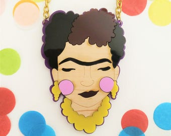PREORDER* Frida Kahlo perspex necklace (Purple and wood)