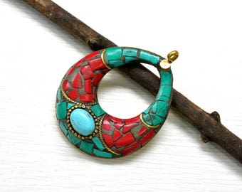 Boho jewelry ,Tibetan pendant ,ethnic ,Hippie , craft ,turquoise ,coral ,mosaic