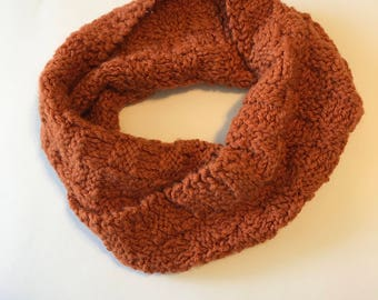 Orange Basketweave Mobius Cowl