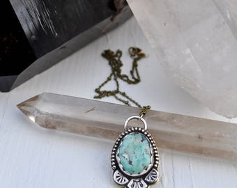 Sky People Collection | Turquoise x Brass x Sterling Silver | Morning Star Necklace I