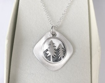 Sterling Silver West Coast Mountains and Trees Necklace/Forest Necklace/The great North West Necklace/personalized mothers day