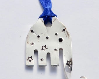 Elephant Ornament with STARS  // made from Recycled Fork with Blue Ribbon