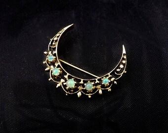 Vintage Opal, Gold Crescent Brooch/Pendant, 14kt Gold Opal Crescent,