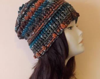 Crochet Boho Beanie Hat, Boho Hat, Bobble Beanie Hat, Textured Hat, FREE UK DELIVERY