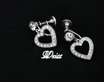 1950s WEISS Rhinestone Chandelier Earrings / Heart Motifs / Wedding / Designer Signed / Mid Century / Vintage Jewelry / Jewellery