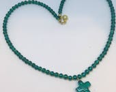 Teal Green colour seed bead rocaille Glass Cross Pendant 18 inch necklace