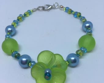 Lime Green & Turquoise Blue Pansy Flower Bracelet Handmade Bracelet-Gifts for women-Gifts for her-Ladies Jewellery-Ladies gifts