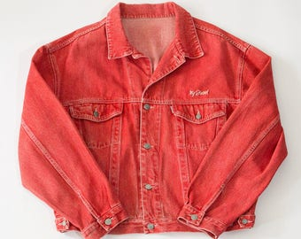 Vintage 90's Diesel Casual Buttoned Red Denim Jacket Retro XXLarge 50 52