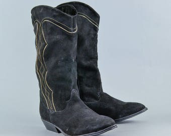 Vintage Women's Black Leather Suede Heeled Knee Calf Boots UK 5 EU 38 US 7