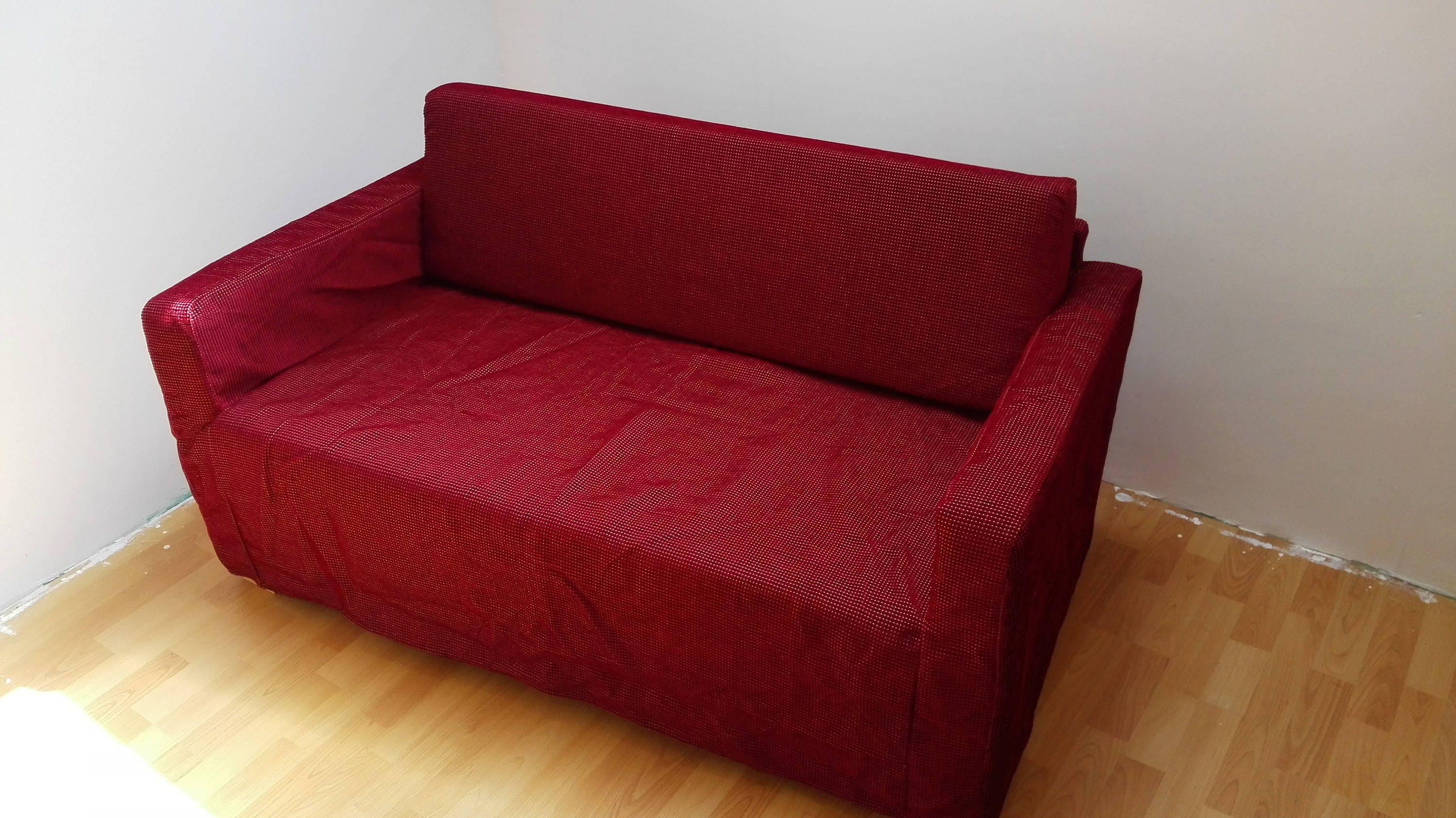 Slipcover for Solsta sofa bed from IKEA reddish brown