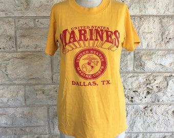 80's T Shirt Marines T shirt Dallas Small T shirt  United States Marine Tee Mustard Yellow Xs Tee