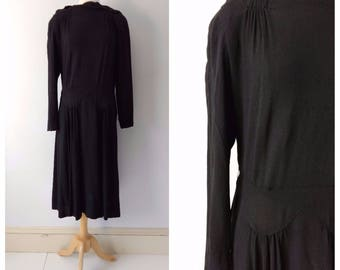 Vintage 1930s black crepe dress size medium / large
